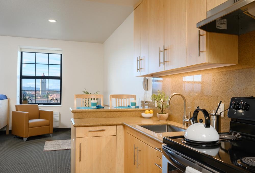 kitchen/living room in a premium studio at Escondido Village
