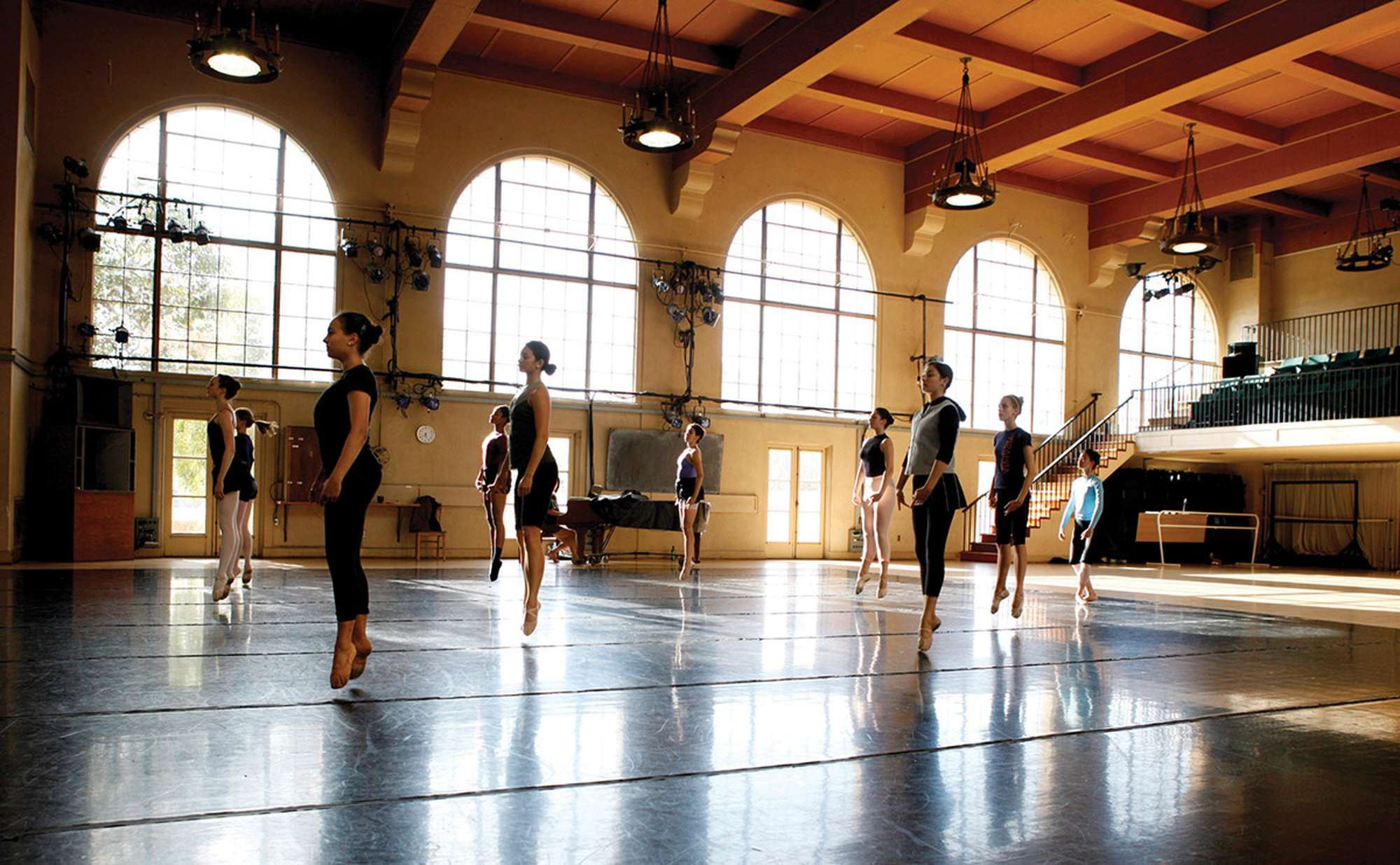 Students dancing in Roble Gym