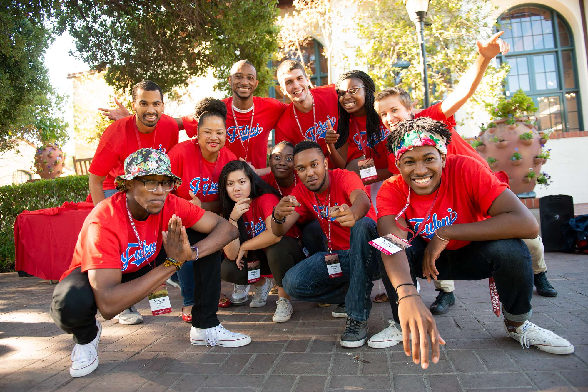 Stanford Students in front of Ujamaa Student Residence