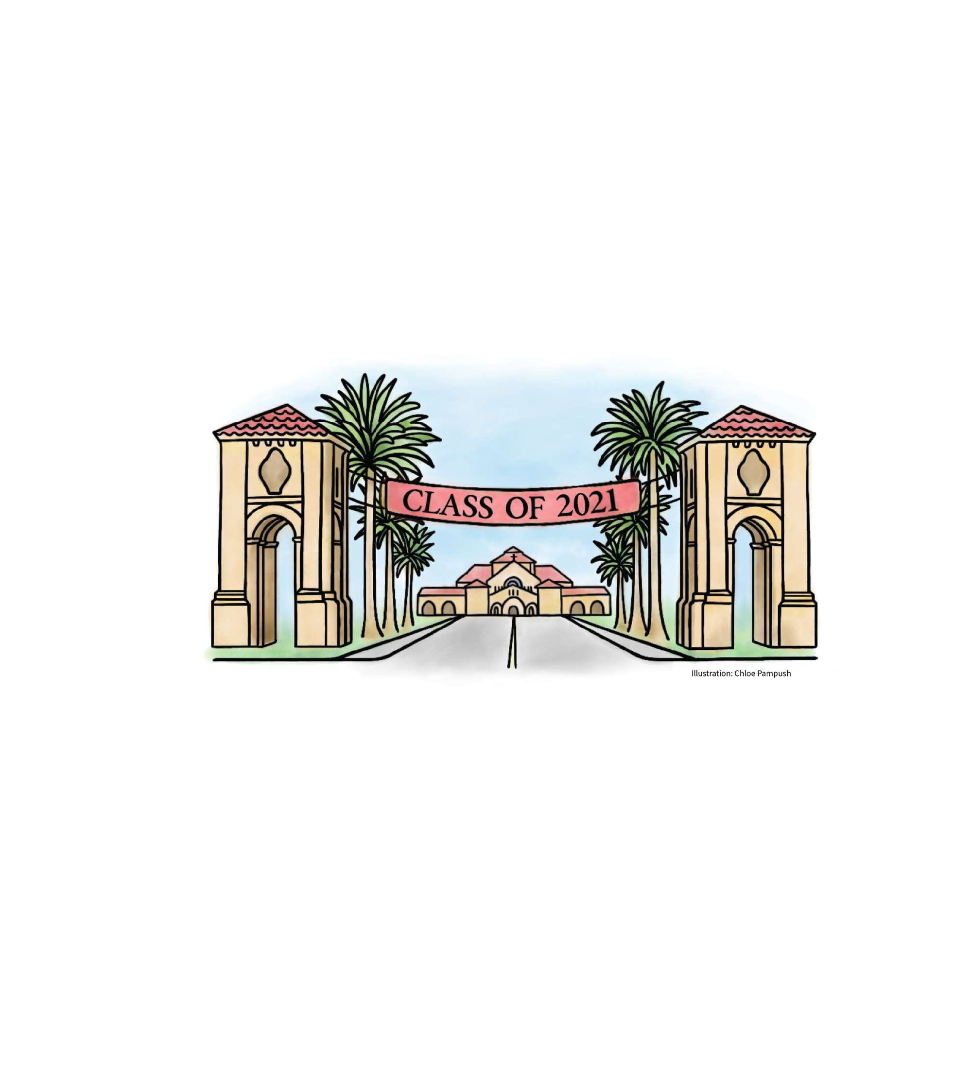Illustration of Palm Drive at Stanford