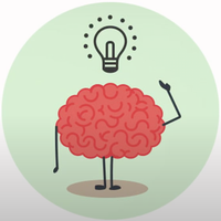 drawing of brain person with lightbulb over their desk