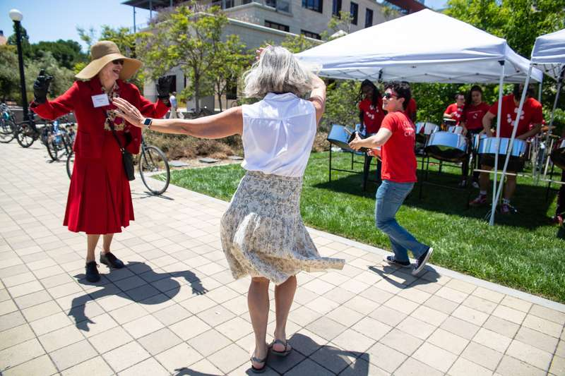 Two women dancing at Stanford Reunion